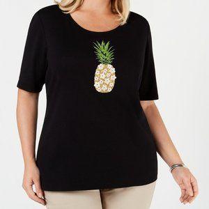 Karen Scott Plus Size Embellished Cotton T-Shirt